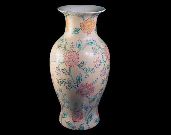 Macau Table Vase, Hand Painted, Floral, Chinese Porcelain, Pink Beige