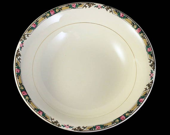 Round Vegetable Bowl, Mount Clements, Floral Band, Pink Rose, Fine China, 8 Inch