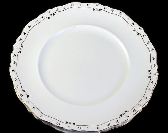 Antique Dinner Plates, Johnson Bros., White With Gold Trim, Set of 2, Made In England, Collectible, Rare