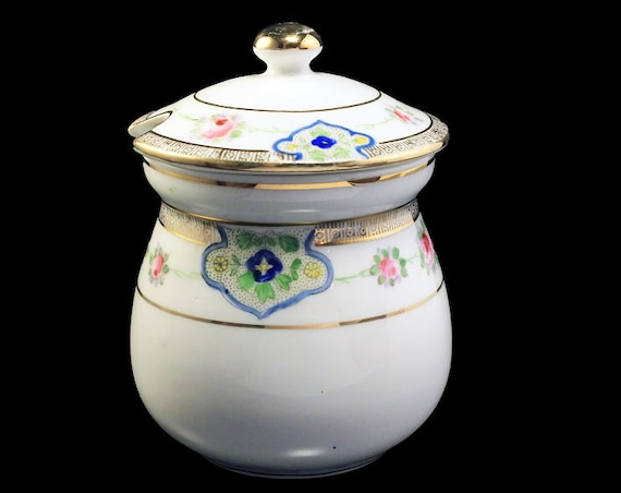 Antique Nippon Jam Jar, Condiment Jar, Porcelain,  Pink Rose Pattern, Relish Jar, Sauce Jar, Mustard Jar, Gold Trimmed
