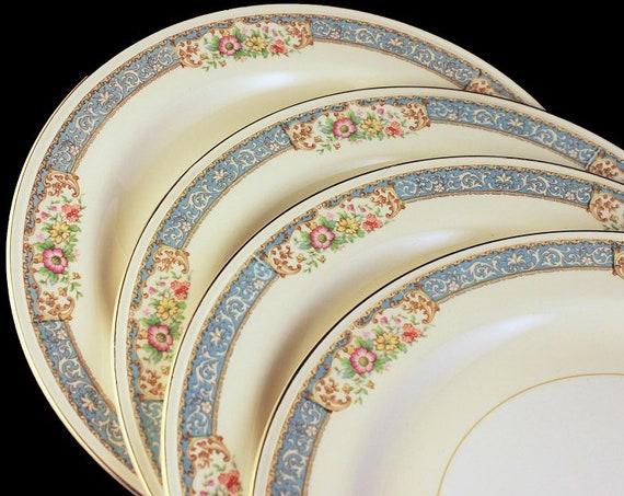 Dinner Plates, Homer Laughlin, Blue Dawn, Eggshell Nautilus, Set of 4, Blue Border, Floral Pattern, Fine China