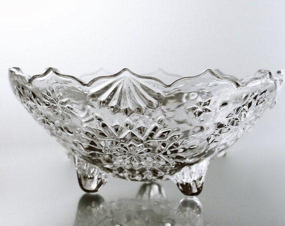 Mikasa Crystal Footed Bowl, Snowflake Pattern, Candy Dish, Nut Bowl, Holiday Dish, Christmas Bowl, Pressed Glass, Clear