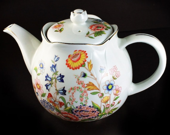 Floral Teapot, Robinson Design,  Gold Trim, 4 Cup, Classic Shape, Collectible
