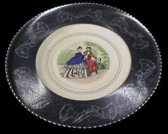 Farberware Plate, Wrought Aluminum, Hand Hammered, Engraved, Morning Glory,  Wall Decor, Victorian, Collectible