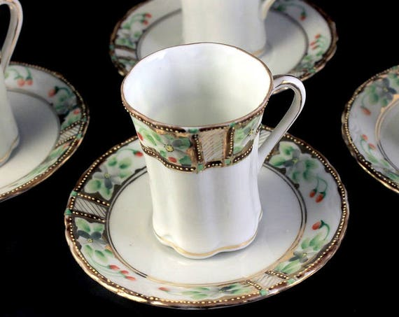 Antique Chocolate Cups and Saucers, Nippon, Noritake, Morimura,  Demitasse, Bone China, Set of 4, Gold Gilt, Hand Painted, Floral Design
