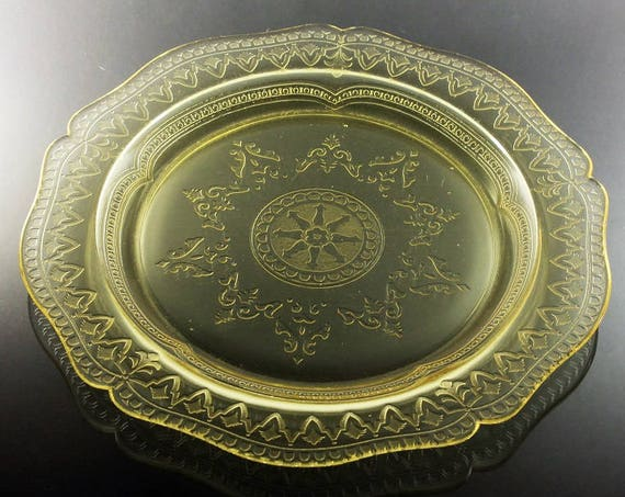 Federal Glass, Dinner Plate, Patrician Amber, Depression Glass, Etched Glass, Cake Plate, Tray