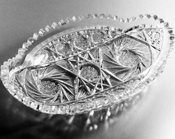 American Brilliant, Crystal Relish Dish, Antique, Oval, Cut Glass, Pickle Dish, Fan and Star Pattern, Collectible Glass