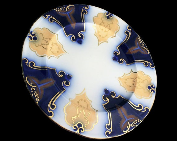 Salad Plate, Display Plate, Blue and White, Gold Trim, Porcelain