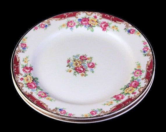 Bread and Butter Plates, Edwin Knowles, Lido, Set of 2, Pink Rose Floral, Fine China