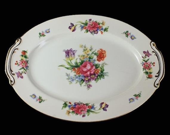 Oval Platter, Sango China, Occupied Japan, Floradel, Floral Pattern, 12 Inch,Multi-floral, Gold Trim