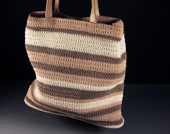 Woven Crochet Tote Bag, Liz Claiborne, Striped, Brown, Tan, and White, Small Tote, Designer Bag
