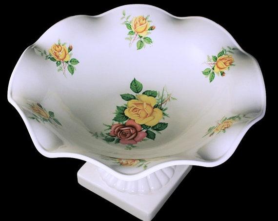 Pedestal Compote, Porcelain, Yellow Rose Pattern, Floral Design, Centerpiece, Scalloped Edge