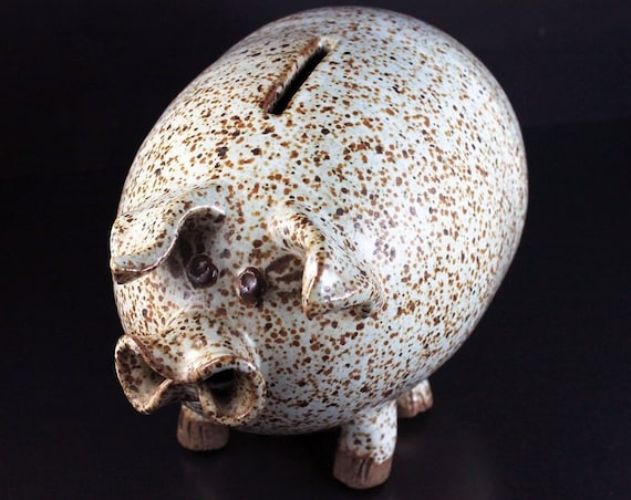 Ironstone Piggy Bank, Brown Speckled, Folk Art Bank, Animal Bank, Crimped Snout Pig Bank, Collectible, Figurine
