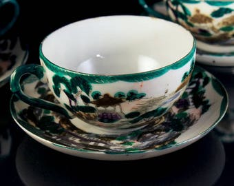 Teacup and Saucer, Temple Scene, Eggshell Porcelain, Hand Painted, Set of 3, Made in Japan, Gold Trimmed