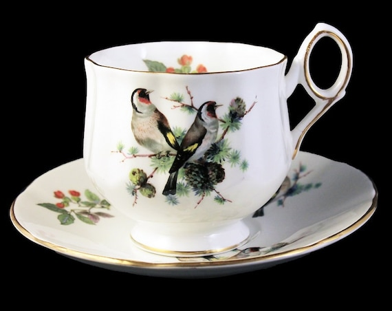 Teacup and Saucer, Royal Dover, Bird Pattern, European Goldfinch, Bone China, Gold Trimmed, Made in England