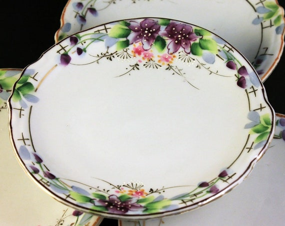 Dessert Plates, Bread and Butter Plates, Made in Japan, Hand Painted, Floral Design, Purple Flowers, Set of 4