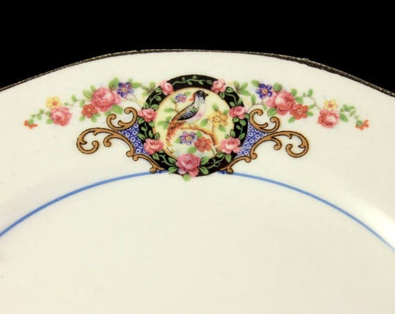 Antique Bread and Butter Plate, FC Co, French China Co, Bird and Floral, Rare