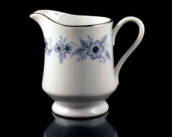 Creamer, Nasco, Champlain, Blue Floral, Platinum Trim, Fine China, Japan