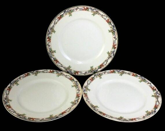 Salad Plates, B & C, Limoges, Bernardaud, Set of 3, Yellow and Orange Floral, Fine China