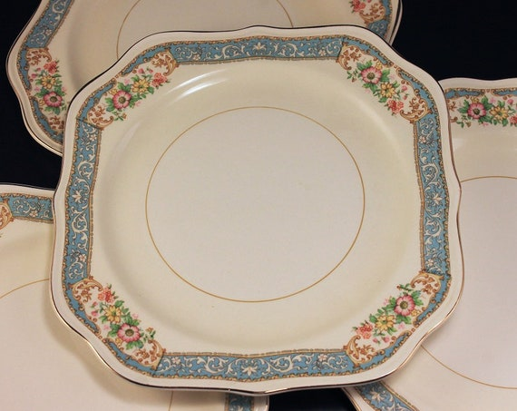 Square Salad Plates, Homer Laughlin, Blue Dawn, Eggshell Nautilus, Set of 4, Blue Border, Floral Pattern, Fine China
