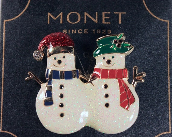 Double Snowman Brooch, Monet Jewelry, Christmas Jewelry, Enameled, Rhinestones, Gold Tone, Fashion Pin, Costume Jewelry, Collectible