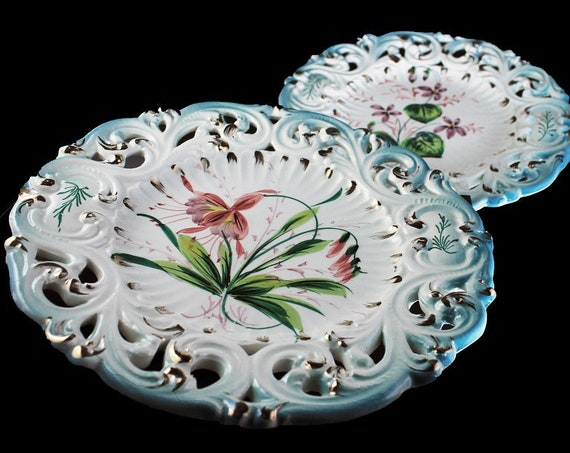 Decorative Plate, Made in Italy, Majolica, Reticulated, Hand Painted, Floral Pattern,  Home Decor, Set of 2, Wall Plates
