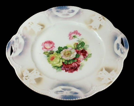 Cake Plate, Made In Germany, Hand Painted, Floral Pattern, Embossed, Double Handled, German Porcelain