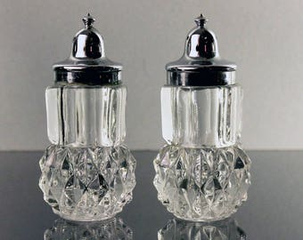 Salt and Pepper Shakers, Indiana Glass, Diamond Point, Silver Tops, Clear Glass, Heavy Pressed Glass