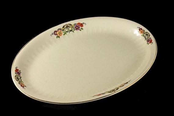 Platter, Floral Pattern, Serving Platter, Oval, Cream Colored