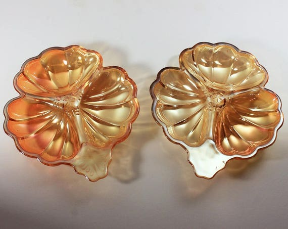 3 Part Clover Dish, Jeannette Glass, Doric Marigold Pattern, Iridescent, Candy Dish, Set of 2