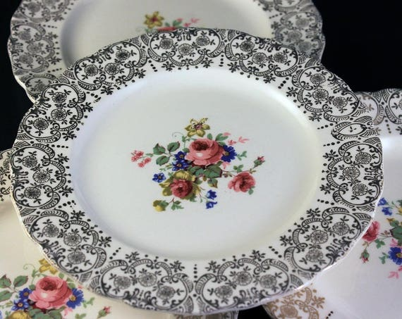 Bread and Butter Plates, Canonsburg Pottery Company, Set of 4, Warranted 22 Karat Gold, Rose Floral Pattern, Gold Filigree