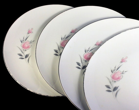 Dinner Plates, Royal Court, Belle Rose, Pink Rose and Bud, Set of 4, Fine China