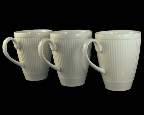 Mugs, Wedgwood, Windsor, Set of 3, Ribs and Dots, Cream Colored, Made in England