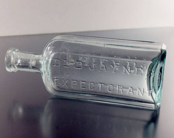 Antique Bottle, Dr. D. Jayne's Expectorant, Aqua, Circa 1880s, Medicine Bottle, Cure, Patent Medicine, Embossed, Collectible