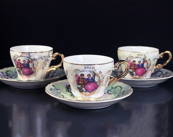 Demitasse Cups and Saucers, Portrait, Lusterware, Set of 3, Porcelain, Gold Trim, Made In Japan