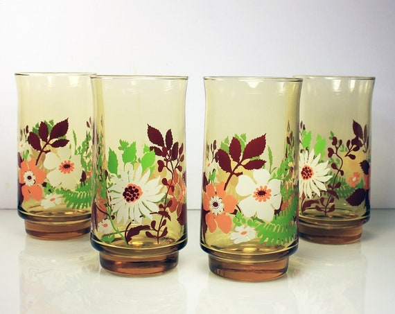 Anchor Hocking, Ice Tea Glasses, New In Box, Amber, Floral Pattern, Set of 4, Tumblers