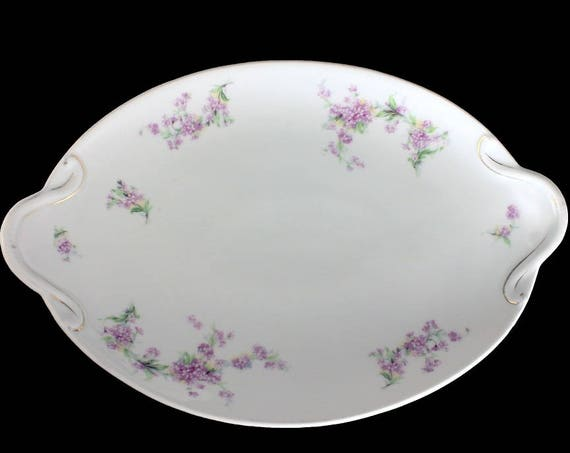 Antique Oval Platter, B S Austria, Lavender Flowers, Handled, Embossed