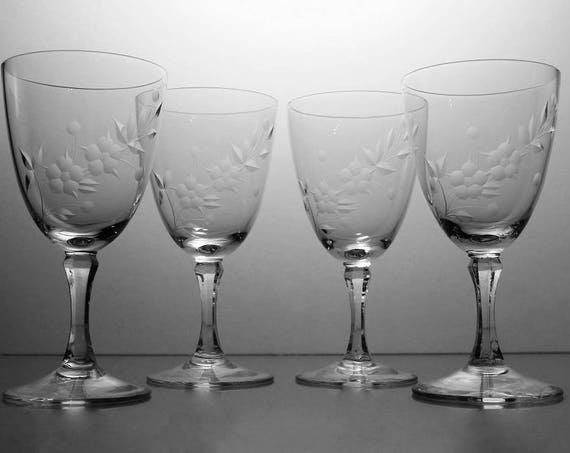 Crystal Etched Wine Glasses, Lenox, Brookdale, Set of 4, Etched Crystal, Wine Glasses, Barware, Stemware, Signed On Bottom