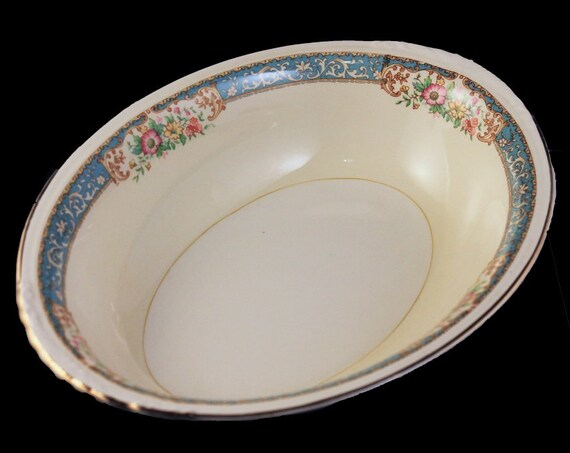 Oval Vegetable Bowl, Homer Laughlin, Blue Dawn, Eggshell Nautilus, Blue Border, Floral Pattern, Fine China, 9 Inch