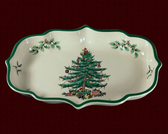 Christmas Ogee Candy Dish, Spode, Christmas Tree Pattern, Serving Dish, Made in England, Collectible