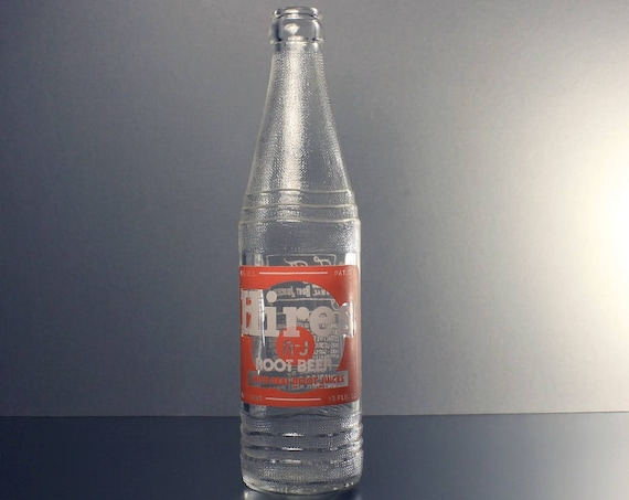 Soda Bottle, Hires Root Beer, 12 Ounce, Pryo-Glazed