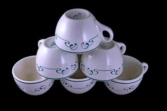 Coffee Cups, Teacups, Syracuse China, Set of 6, Restaurant Grade, White with Green Squiggle Pattern,