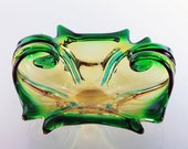 Art Glass Bowl, Display Bowl, Murano Style, Green and Gold, Decorative Bowl, Home Decor, Centerpiece