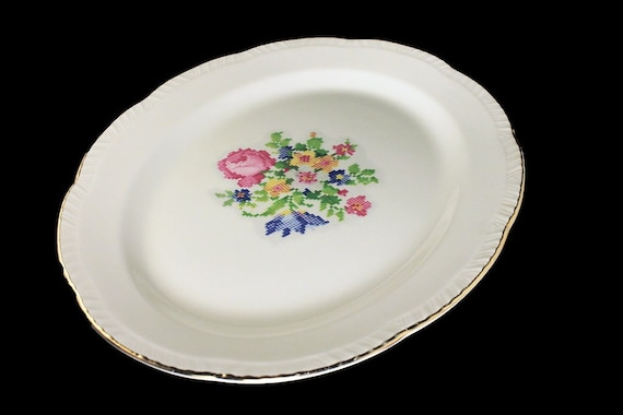 Platter, Homer Laughlin, Petit Point, 13 Inch, Floral Center, Gold Trim, Fine China