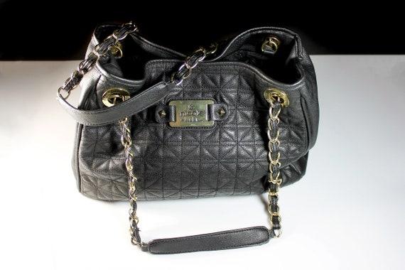 Black Leather Tote Bag, Nicole Miller, Quilted Shoulder Handbag, Zippered Side Compartment, Large Bag
