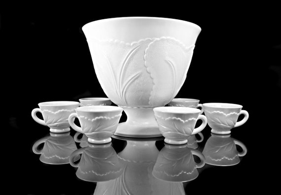 Punch Bowl with 6 Cups, Indiana Glass, Pebble Leaf Milk Glass, 4 Quart, Plastic Ladle, Discontinued, Wedding, Party
