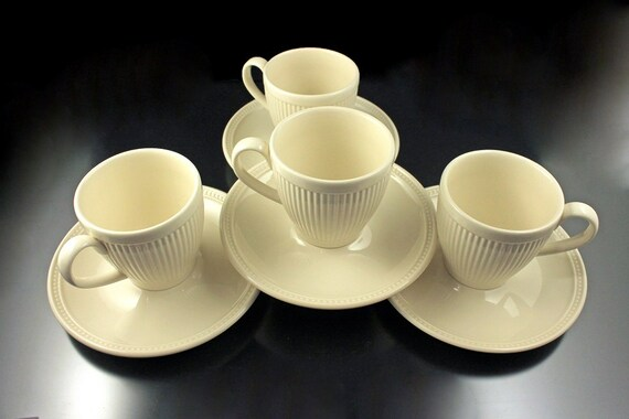 Cups and Saucers, Wedgwood, Windsor, Set of 4, Ribs and Dots, Cream Colored, Made in England
