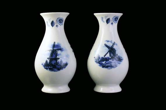Delft Footed Bud Vases, Ter Steege BV Blauw, Set of Two, Hand Painted, Windmill and Floral, White and Blue, Collectible