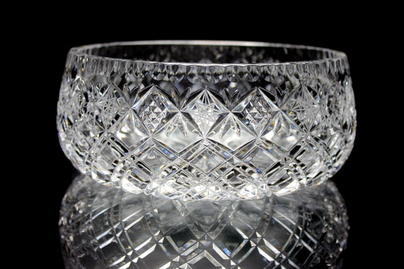 Lausitzer Crystal Bowl, Heavy, Clear Cut Glass, Crisscross and Stars Design, Centerpiece, Collectible