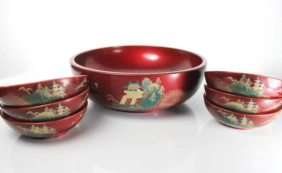 Lacquerware Salad Bowl Set, NTS Japan, Dark Red, Pagoda Landscape, 7 Pieces